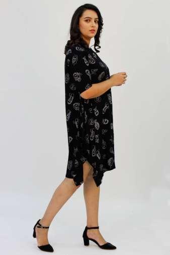 Black Printed Cowl Dress7