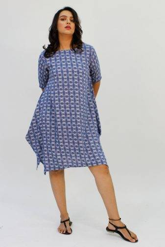 Blue Printed Cowl Dress1