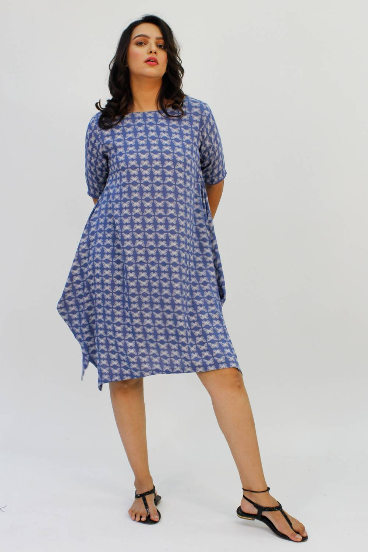 Blue Printed Cowl Dress1