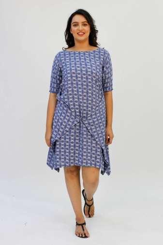 Blue Printed Cowl Dress2