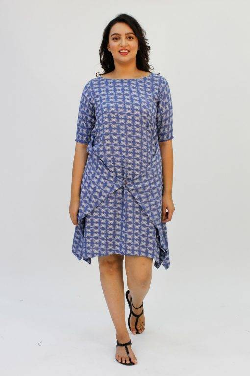 Blue Printed Cowl Dress2