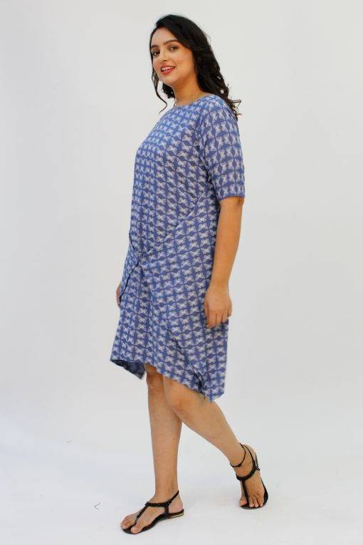 Blue Printed Cowl Dress3