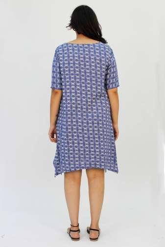 Blue Printed Cowl Dress4
