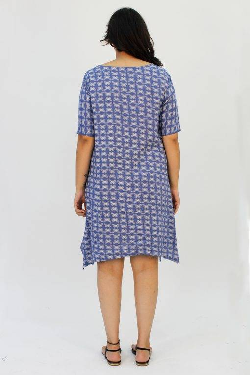 Blue Printed Cowl Dress4