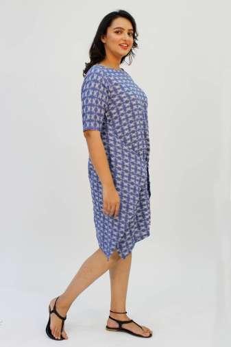 Blue Printed Cowl Dress5