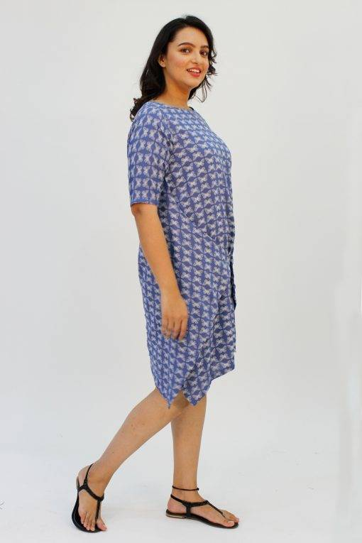 Blue Printed Cowl Dress5
