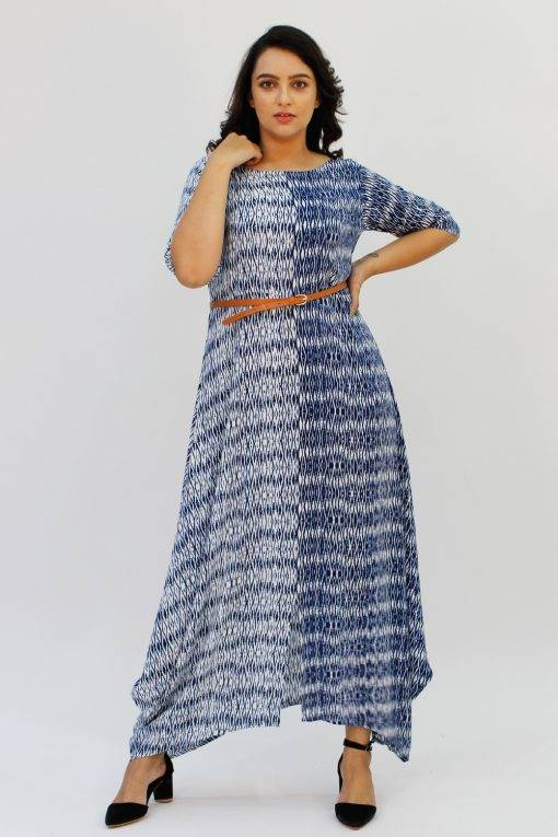 Blue 2-tone Long Cowl Dress1