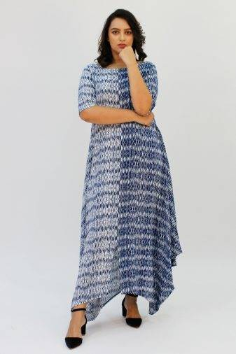Blue 2-tone Long Cowl Dress3