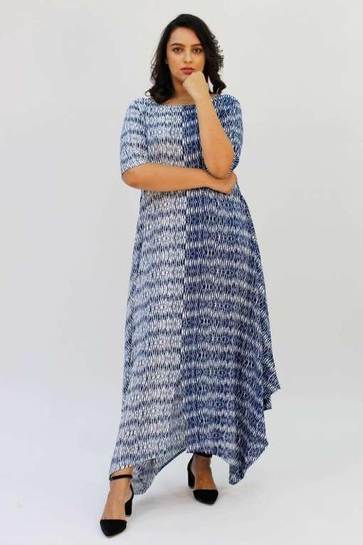 Blue 2-tone Long Cowl Dress3