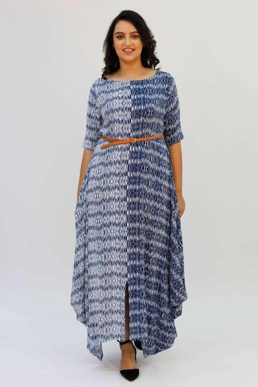 Blue 2-tone Long Cowl Dress4