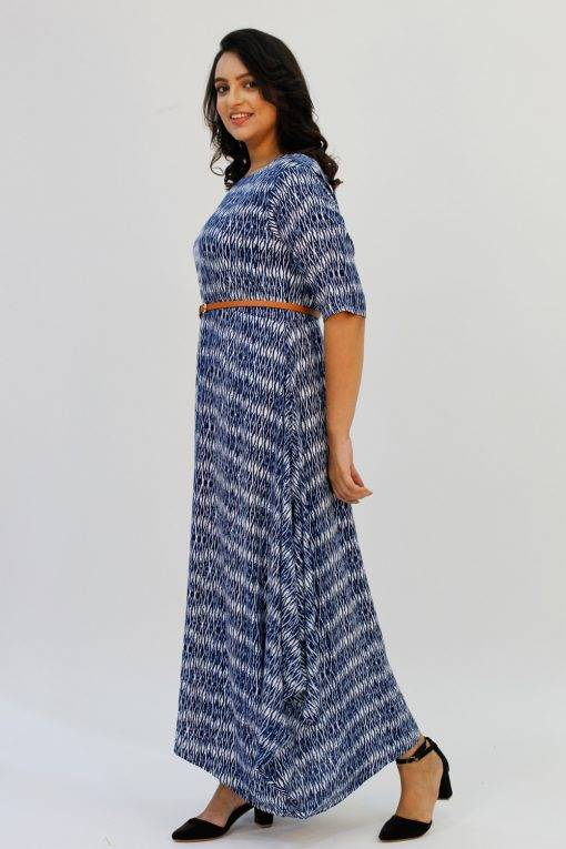 Blue 2-tone Long Cowl Dress5