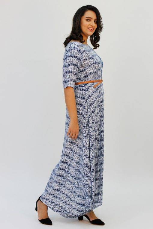 Blue 2-tone Long Cowl Dress6
