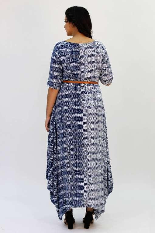 Blue 2-tone Long Cowl Dress7