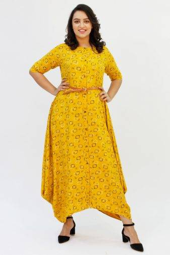Yellow Cowl Long Dress1