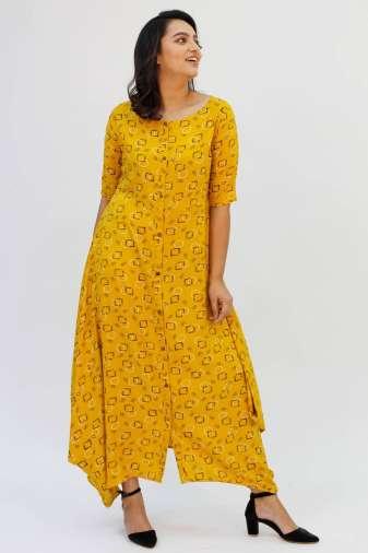 Yellow Cowl Long Dress2