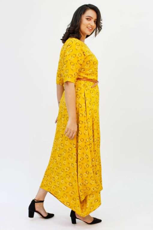Yellow Cowl Long Dress4