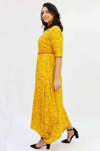 Yellow Cowl Long Dress6