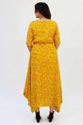 Yellow Cowl Long Dress7