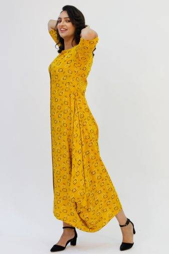 Yellow Cowl Long Dress8
