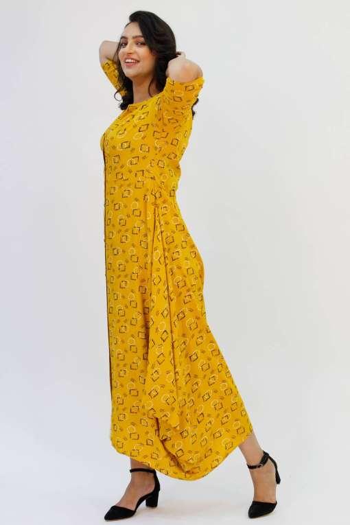 Yellow Cowl Long Dress8