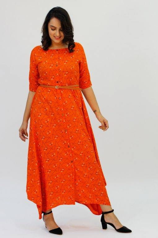 Orange Cowl Long Dress1
