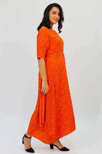 Orange Cowl Long Dress3