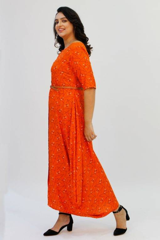 Orange Cowl Long Dress4