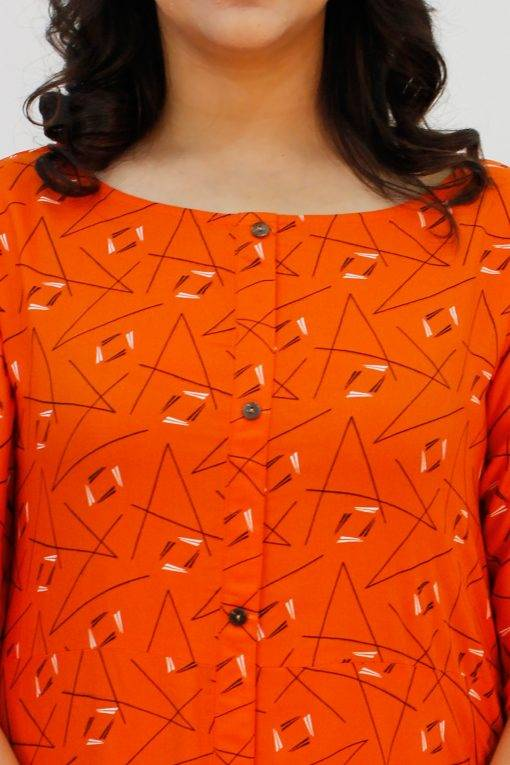 Orange Cowl Long Dress5