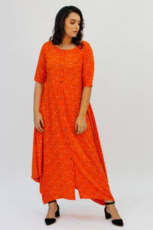 Orange Cowl Long Dress6