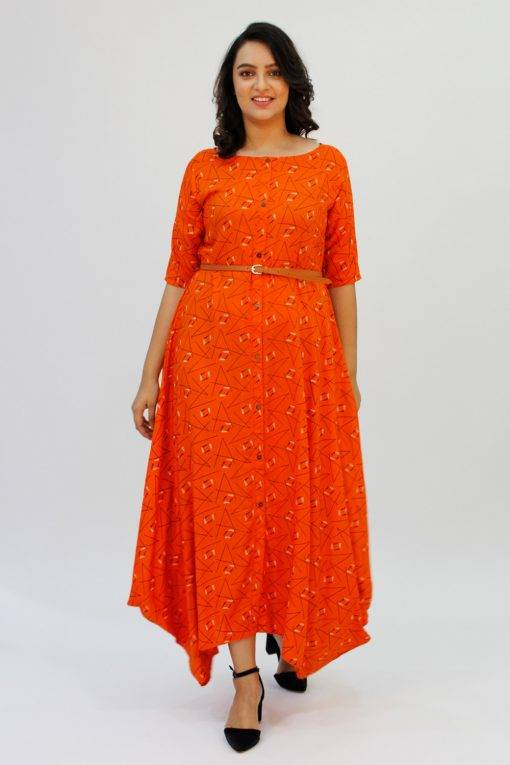 Orange Cowl Long Dress7