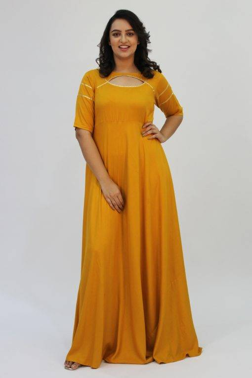 Mustard Gota Anarkali1