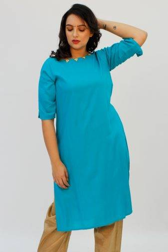 Blue Kurti with Gotta Patti FLOWER1