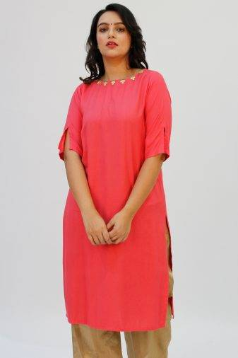 Pink Kurti with Gotta Patti FLOWER1