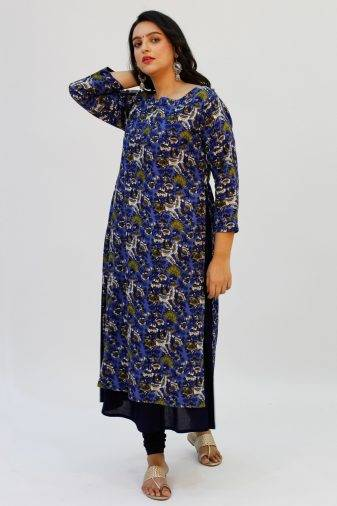 Blue Printed Double Layer Kurta1
