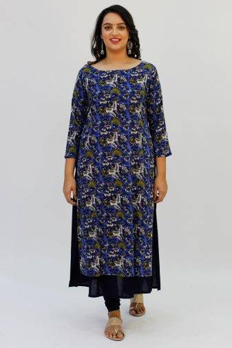 Blue Printed Double Layer Kurta5