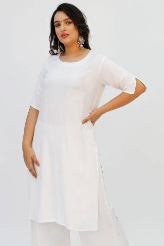 White Round Neck Kurta1