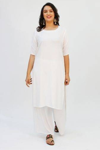 White Round Neck Kurta3