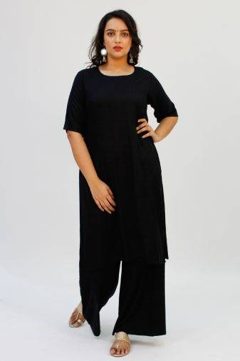 Black Round Neck Kurta2