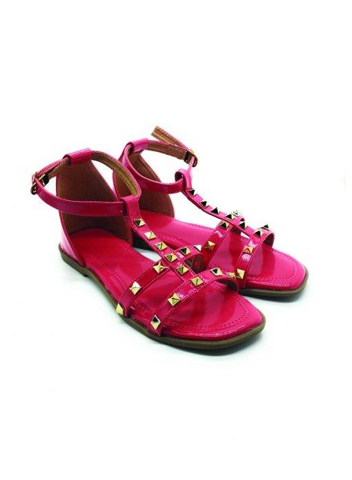 Pink Studded Ankle Strap Flat Sandals