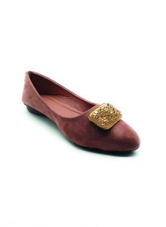 Suede Buckle Detail Flat Ballerinas2