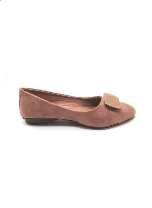 Suede Buckle Detail Flat Ballerinas3
