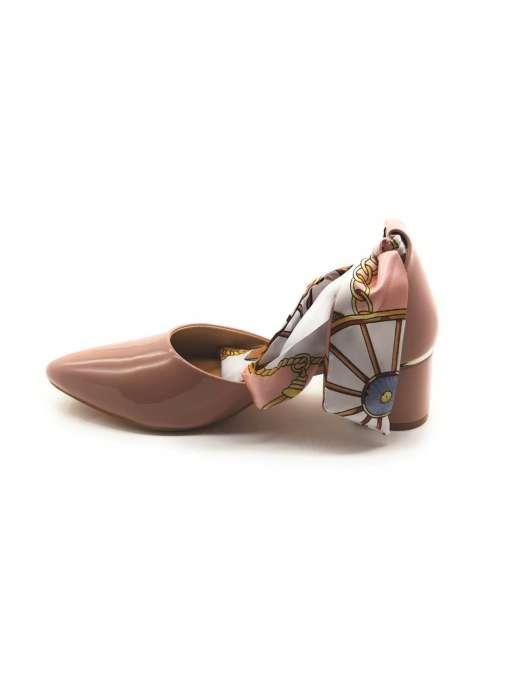 Ribbon Tie-Up Patent Block Heels4