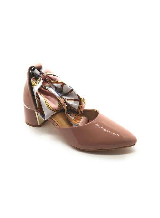 Ribbon Tie-Up Patent Block Heels6