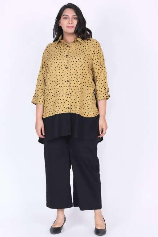 Plus Size Mustard polka dot shirt