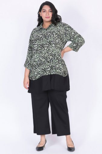 Plus Size Green printed Shirt