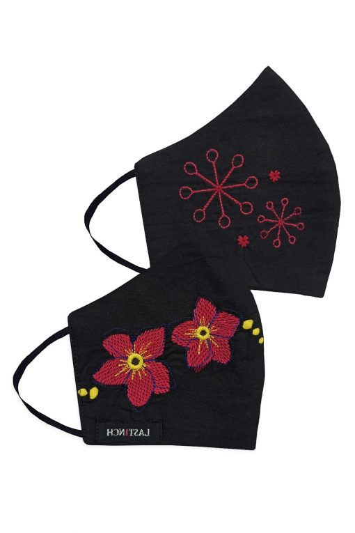 Pink Florescence Embroidered Face mask
