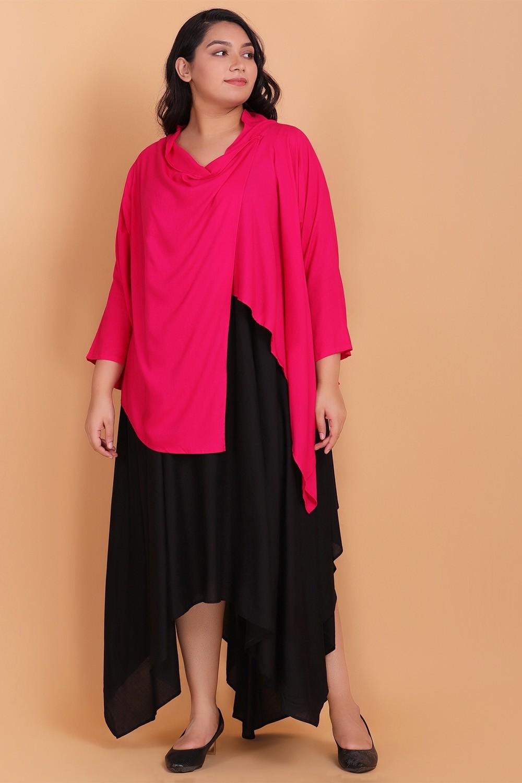 Midi dress with pink cowl shrug