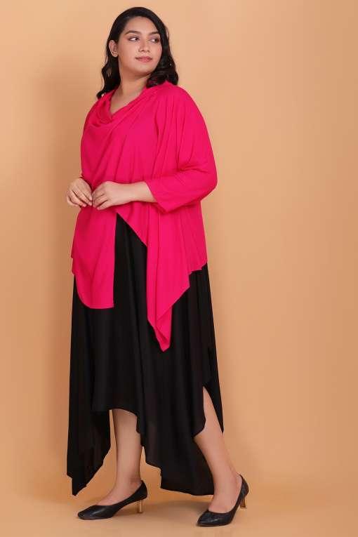 Midi dress with cowl shrug