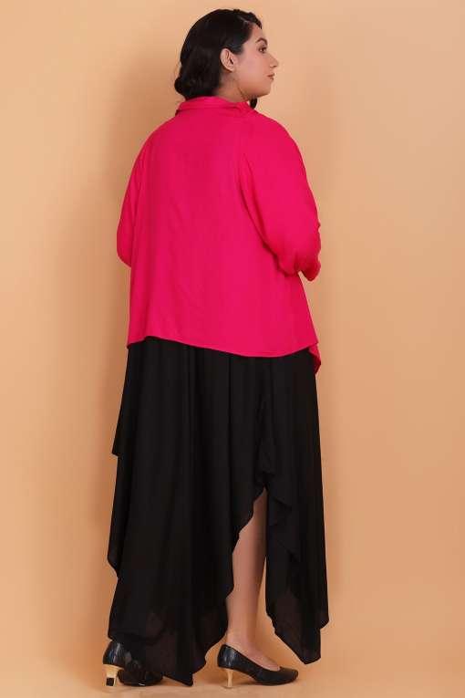 Plus Size midi dress with cowl shrug
